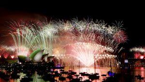 Uudenvuoden ilotulitus Sydneyssä oopperatalon ja Harbour Bridge -sillan läheisyydessä 1. tammikuuta 2015.