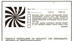 Vehmassalmen tietokonetansseissa käytetty lappu, jossa pitää asettaa viisi ominaisuutta tärkeysjärjestykseen.