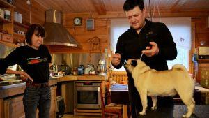 Merja Lääveri-Kentta ja Reijo Kentta harjoituttavat Ebby koiraansa.