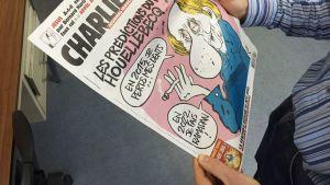 Sanomalehti Charlie Hebdon etusivu 7. tammikuuta.