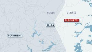 Sallan ja Alakurtin alueen kartta.