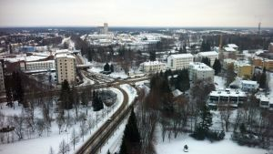 Talvinen Seinäjoki ilmasta kuvattuna.