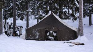 Sotilaita telttaharjoituksessa