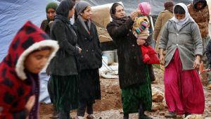 Irakin jezidivähemmistöön kuuluvia kuvattuna pakolaisleirillä Sinjan-vuorella.