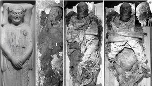 1300-luvulla eläneen italialaisen Cangrande della Scalan sarkofagi vasemmalla ja hänen käärinliinoista avattu ruumiinsa.
