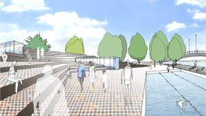 Arkkitehtitoimiston näkemyksen mukaan Kokonniemeen voisi nousta kylpylä, jonka ulkoaltailla voisi uida ympäri vuoden.