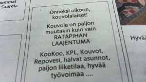 Onnitteluviesti kouvolalaisille julkaistiin Helsingin Sanomissa sunnuntaina 8. helmikuuta
