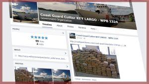 Kuvakaappaus rannikkovartioston Facebook-sivuillaan julkaisemasta kuvasta huumetakavarikosta Karibianmerellä.
