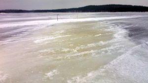 Laukansaaren jäätie 24. helmikuuta 2015.
