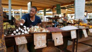 Myyjä havannalaisella ruokatorilla Kuubassa.