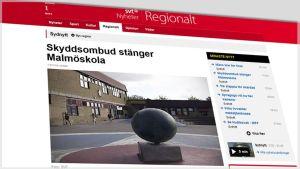 Kuvakaappaus Svt:n nettisivuilta jutusta, joka käsittelee Malmössä sijaitsevan koulun sulkemista.