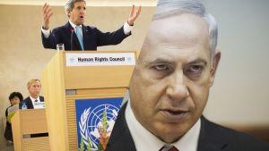 Yhdysvaltain ulkoministeri John Kerry (vas.) ja Israelin pääministeri Benjamin Netanjahu.
