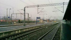 Seinäjoen rautatieaseman ratapiha.