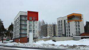 Joensuun Ellin uudet toimitilat (kattohuoneisto, jota reunustaa keltaoranssi parveke) Kimpikuja 3:ssa  ovat herättäneet keskustelua.
