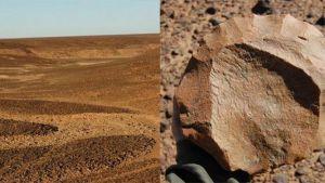 Saharan hiekkamaisemaa ja sieltä löydetty kivityökalu