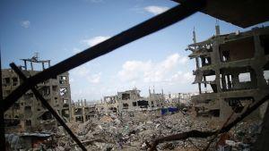 Näkymä Al Shejaeiyan kaupunginosaan Gazassa 12. maaliskuussa.