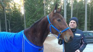 Ravihevonen Arctic Madonna  ja ravivalmentaja Markku Nieminen