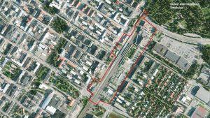 Alustava suunnitelma alueesta, jota kaupunki suunnittelee kehittävänsä asemakeskushankkeessa. Suunnitelma koskee alustavasti Kainuuntien ja Kajaanintien sekä Ratakadun ja Rautatiekadun rajaamaa aluetta.