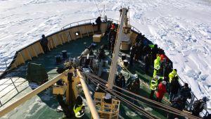 Öljyntorjuntaharjoituksen osallistujia jäänmurtaja Sammon kannella Perämerellä maaliskuussa 2015.