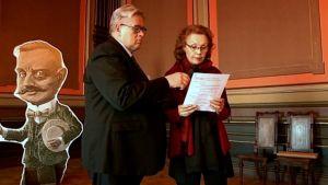Erkki Korhonen ja Kaija Saariaho julkistavat sävellyskilpailun voittajia