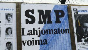 Suomen Maaseudun puolueen eli SMP:n vaalijuliste eduskuntavaaleissa 1983.