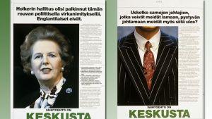 Keskustan vaalimainoksia sanomalehdissä eduskuntavaaleissa 1991.