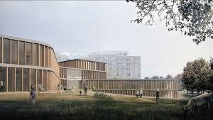 Lapin keskussairaalan laajennus vaihe 2, havainnekuva ITU