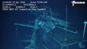 Sukellusrobotin ottamia kuvia uponneesta Oleg Naidenov -aluksesta.