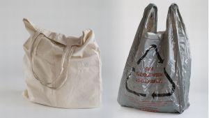 Kangaskassi ja kierratysmateriaalisat valmistettu muovikassi.
