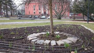 Kuvassa kastelulaite puun juurella  kukkapenkissä. Taustalla Vartiolinna