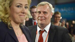 Antti Rinne ja Jutta Urpilainen puoluekokouksessa Seinäjoella 9. toukokuuta 2014.
