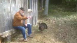Kaarinalainen Raino Rissanen istuu ukkometson kanssa poikansa Tuomaksen mökillä.