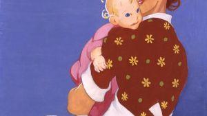 Kotilieden kannen kuvituskuva äidistä ja lapsesta