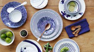 Sinivalkokuviollisia posliinilautasia kuvattu yläviistosta. Astioissa on kivannäköisiä lusikoita, lime-hedelmiä ja kaktuksia.