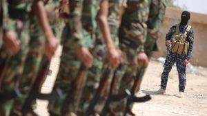 Isis-terroristiryhmän vastaiseen taisteluun valmistautuvia irakilaissotilaita valokuvattuna Amriyat al-Fallujahin tukikohdassa 8. toukokuuta.