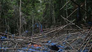 Hylätty leiri josta löydettiin lukuisia hautoja 26. toukokuuta Malesiassa.