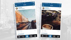 Kuvakaappaus kahdesta Instagram-kuvasta.