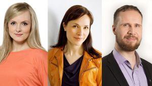 Maria Ohisalo, Hanna Halmeenpää ja Touko Aalto.