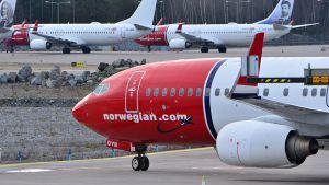 Norwegian-yhtiön matkustajalentokone.