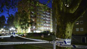 Kerrostalojen välissä olevaan puuhun on vedetty poliisin sinivalkoiset tarranauhat.