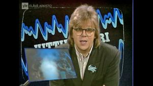 Mikko Alatalo isännöi Hittimittari-ohjelmaa 1980-luvulla.