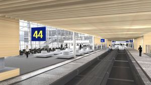 Havainnekuva Helsinki-Vantaan lentoaseman terminaalilaajennuksesta.