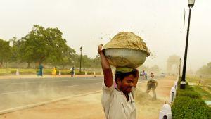 Kaupunkilaisia hiekkamyrskyn riepottelemassa Delhissä, Intiassa, 13. kesäkuuta. Kuvan etualalla mies kantaa hiekkaa päänsä päällä.