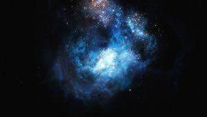 ESO:n kuvittajan näkemys CR-7 -galaksista.
