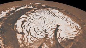 Kuva Mars-planeetan jäisestä pohjois- tai etelä-navasta.
