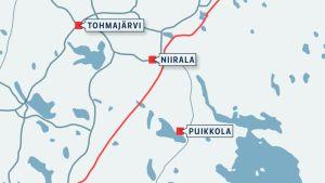 Karttagrafiikka Suomen ja Venäjän raja-alueesta.