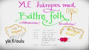 Grafiikkaa, jossa kerrotaan Ylen haastattelemien vieraiden nimet: Aki Roukola, Miki Liukkonen, Teksti-tv 666, Katja Iljana, Jaakko Laitinen ja Väärä Raha.