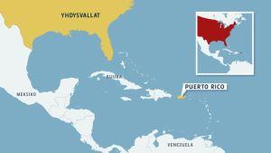 Kartta Puerto Ricon sijainnista.
