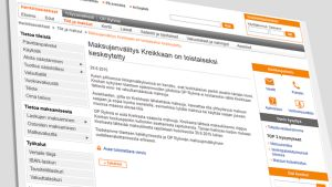 Kuvakaappaus op.fi -nettisivuilta, jossa kerrotaan maksuliikenteen keskeyttämisestä Kreikkaan.