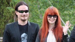 Tuomas Holopainen ja Johanna Kurkela Live Lemminkäinen! -produktion lehdistötilaisuudessa kesällä 2015.